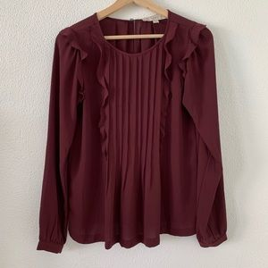 LOFT Ruffle/Pleated Blouse
